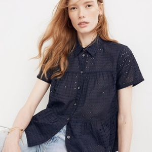 madewell navy eyelet swing top